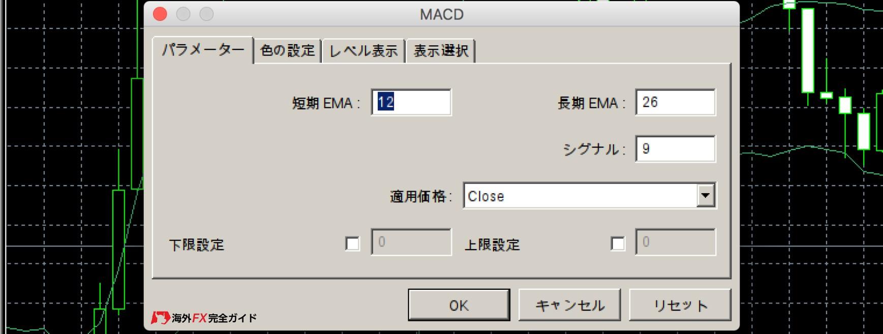 XMのMT4のオシレーター系MACD