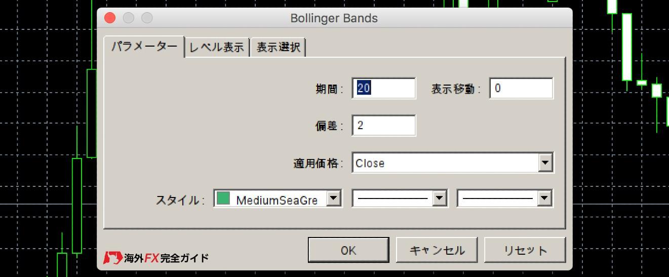 XMのMT4のボリンジャーバンド設定画面